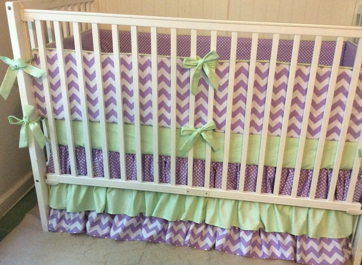 A personal favorite from my Etsy shop https://www.etsy.com/listing/168347112/purple-and-mint-crib-bedding-modern