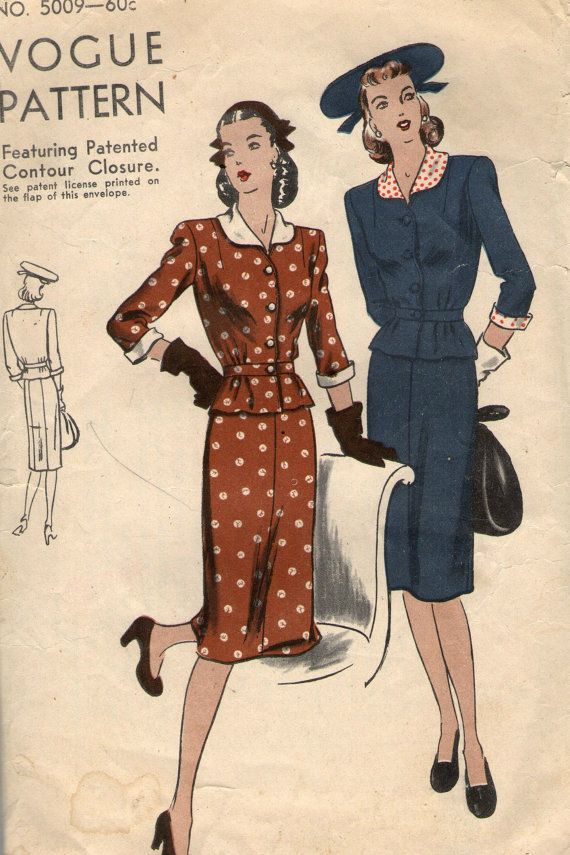 Vintage 1940s Vogue Sewing Pattern 5009 by SewAddicted2SewMuch