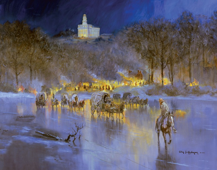 Final Farewell, by Glen Hopkinson.    In February, 1846, Mormon refugees began leaving Nauvoo, crossing the Mississippi River, to search for a new home in the West.  http://www.ldschurchnews.com/articles/42040/Forced-migrations-to-wider-field-of-action.html