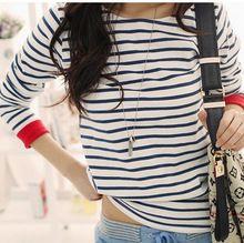 Высокое качество 2015 новых женщин топы о-образным шею рубашка с длинным рукавом черный и белый полосатые футболки черный и белый тис(China (Mainland))