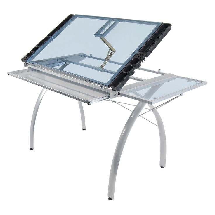 Studio Designs 10095 Futura Craft Station With Folding Shelf, Silver With  Blue Glass The Perfect Multi Functional Contemporary Table: Studio Designsu0027  Futura