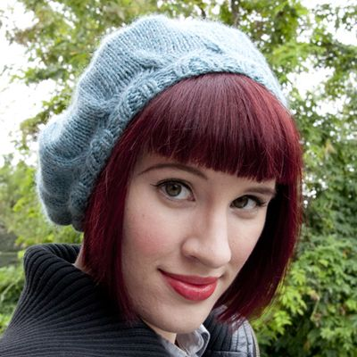 How to Knit a Simple Beret With a Cable Brim.  Large step by step pictures make the process super clear!