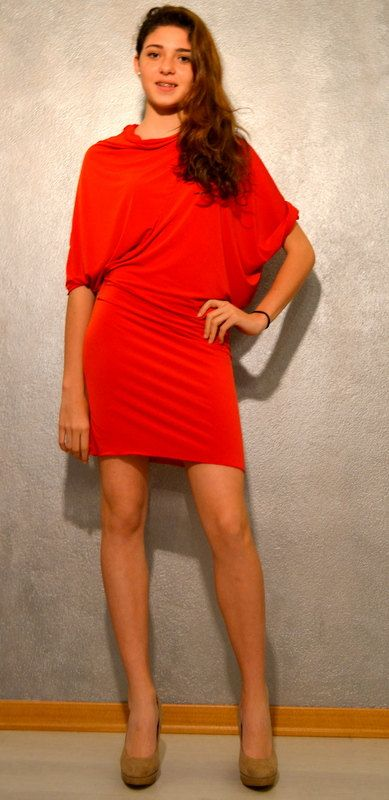 Red cocktail dress with dolman sleeves drapey by fashionagora