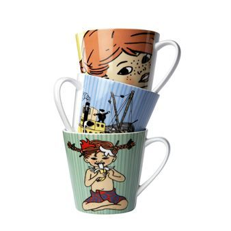 The exclusive porcelain cup collection with Pippi Longstocking comes from Rörstrand. Original drawings by Ingrid Vang-Nyman, perfect colors and porcelain of high and durable quality makes the cups a popular present! Available in three different models and colors.