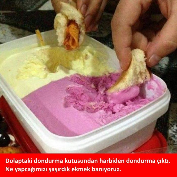 Dolaptaki dondurma kutusundan harbiden dondurma çıktı.  Ne yapcağımızı şaşırdık ekmek banıyoruz.  #mizah #matrak #komik #espri #şaka #gırgır #komiksözler #caps