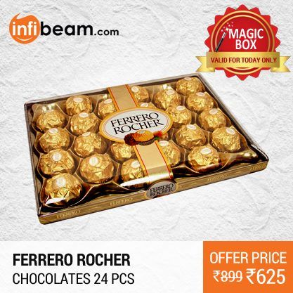 Ferrero Rocher Chocolates 24 Pcs at Lowest Rate from Infibeam's MagicBox !   Assuring Lowest Price in Magic Box Deals!   HURRY ! OFFER ENDS TODAY MIDNIGHT !  #MagicBox #Deals #DealOfTheDay #Offer #Discount #LowestRates Ferrero Rocher #Chocolates #24Pcs #ValentinesDay #Gifts