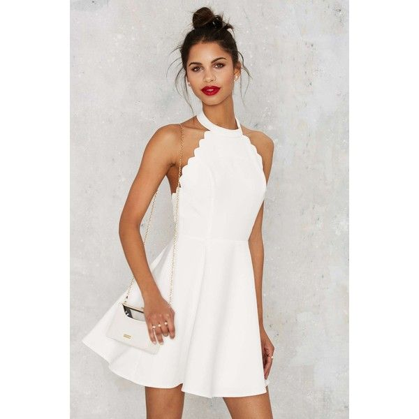 Full Scallop Attack Flare Dress featuring polyvore, women's fashion, clothing, dresses, white, short dresses, halter top, white open back dress, open back short dresses and white halter top dress