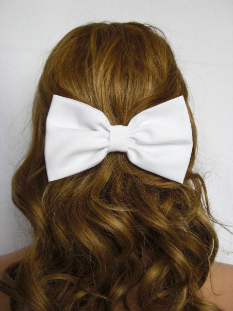 White Hair Bow Clip for Women Teens Girls Hair by JuicyBows