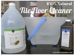 All natural Tile Floor Cleaner  1.5 gallon hit water, 1/4 cup hydrogen peroxide and 3/4 cup white vinegar. For grout 3:1ratio Baking soda to Hydrogen peroxide.