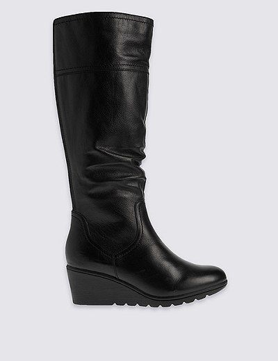 Leather Wedge Ruched Long Knee High Boots | Marks & Spencer London