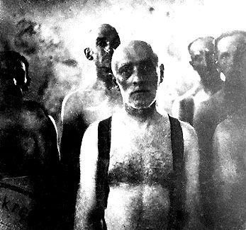 Jewish men awaiting death in a gassing van at Chelmno death camp. 320,000 Jews were murdered in Chelmno death camp; four survived.