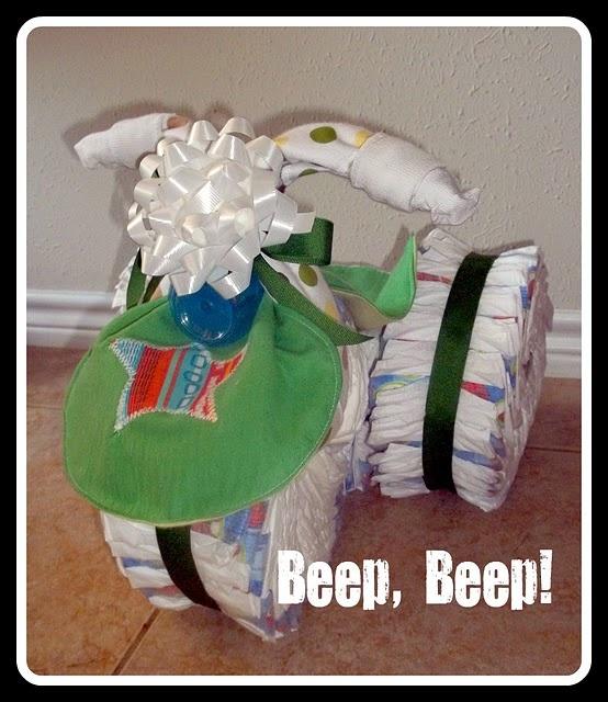 baby boy shower gift: Shower Ideas, Diaper Bike, Shower Gifts, Gifts Ideas, Baby Boy Shower, Diapers Cakes, Baby Boys Shower, Diapers Bike, Baby Shower