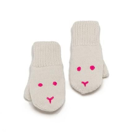 little bunny faces on mittens