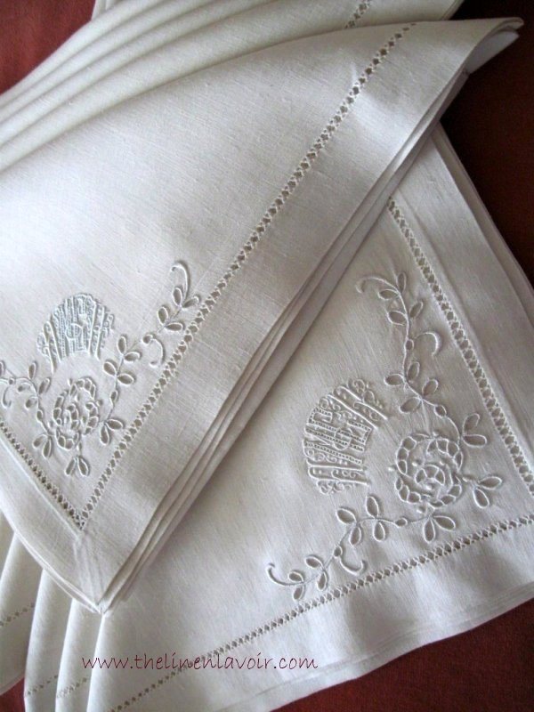 Vintage Linen Monogram Napkins Broderie Anglaise Whitework Embroidered