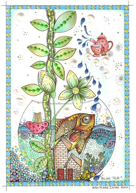 Animals, Birds & Fishes teapots ocean round circle zentangle blue green plants organic | Eye Candy | Pinterest | Art, Zentangle and Birds