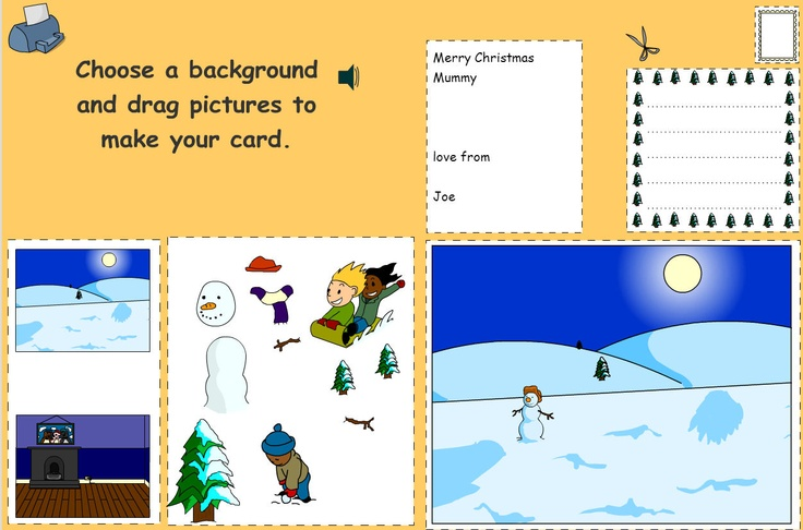 Produce a complete Christmas card, including design, message, address label and stamp. This activity helps pupils produce a complete Christmas card, including the design for the front of the card and a message for inside, as well as an address label and stamp for the envelope. Choose from two backgrounds and construct a scene using the objects. Clicking on the rectangles at the top of the screen will enable you to write the address and the content (use the word bank help or type into the…