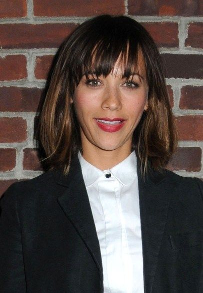 Rashida Jones updo hairstyle with full bangs