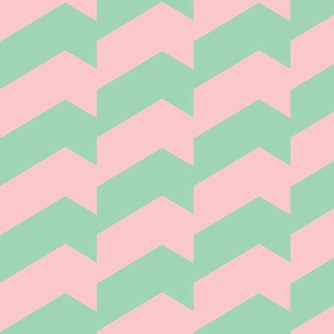 Broken Chevron Pastel Green & Pink by Stoflab