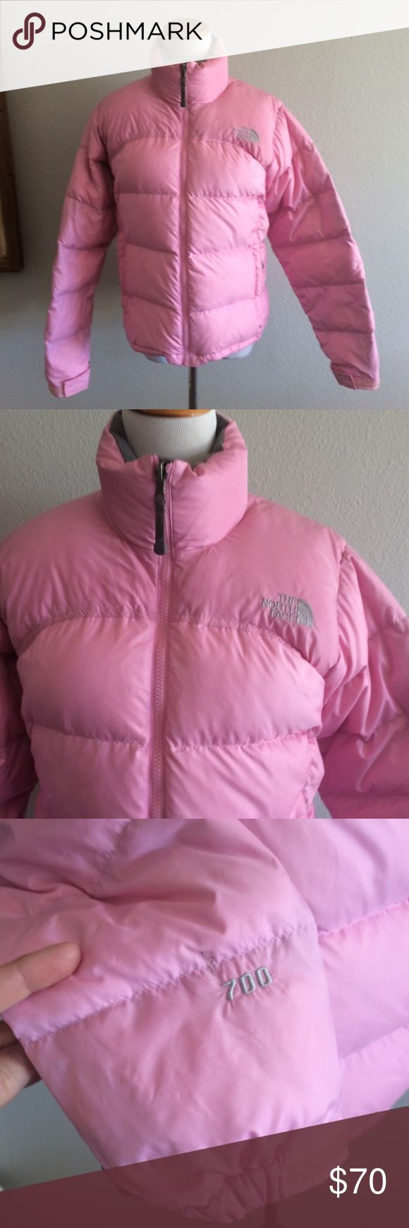 The North Face Puff winter jacket Size small color pink and gray , the jacket it's in great condition except for a small stain on the third picture, heavy winter jacket The North Face Jackets & Coats Puffers