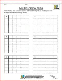 multiplication sheets to 5x5 blank