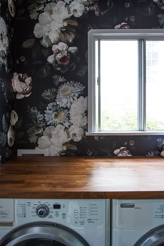 customized a walnut butcher block (it is the oversized one that is usually meant for a kitchen island, also from Ikea) by cutting it down to fit wall to wall in the space and create a nice surface to fluff and fold.