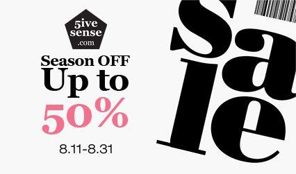 Pre-Fall SALE Up to 50% off! 2014.08.11~2014.08.31!  5ivesense.com