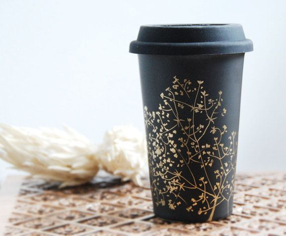 Hand Painted Ceramic Eco-Friendly Travel Mug - Gold Babys Breath Collection - Limited Edition ~ Yevgenia (via Design*Sponge ~ http://www.designsponge.com/2012/02/handpainted-ceramics-by-yevgenia.html)