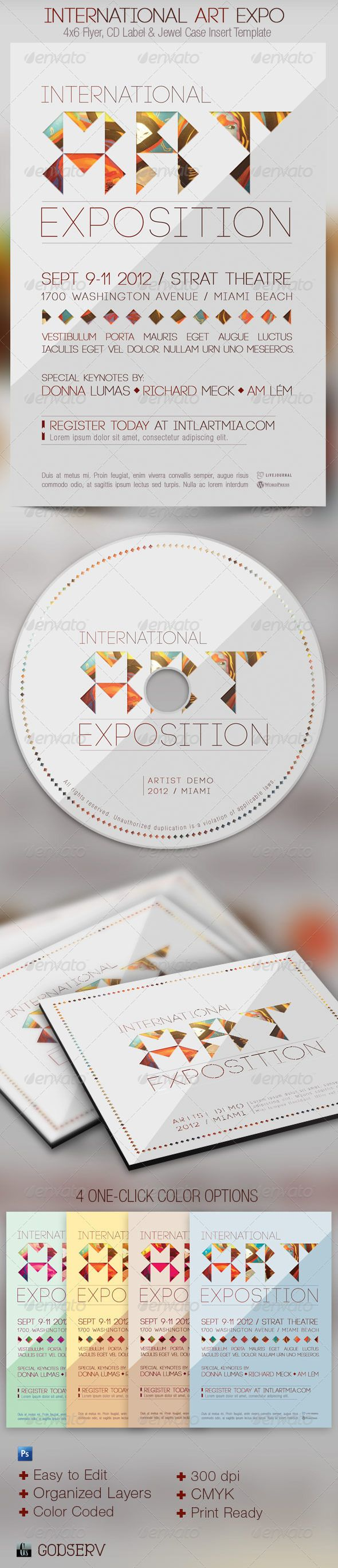The International Art Expo Flyer and CD Template by Michael Taylor, via Behance