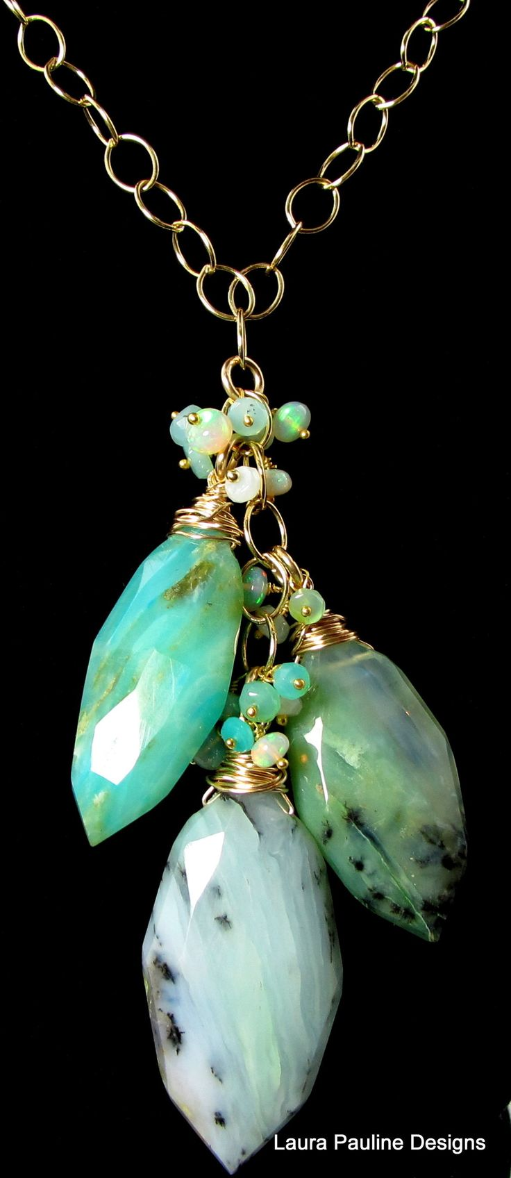 Necklace |  Laura Pauline.  Peruvian Blue Opal, Ethiopian Opal And Gold