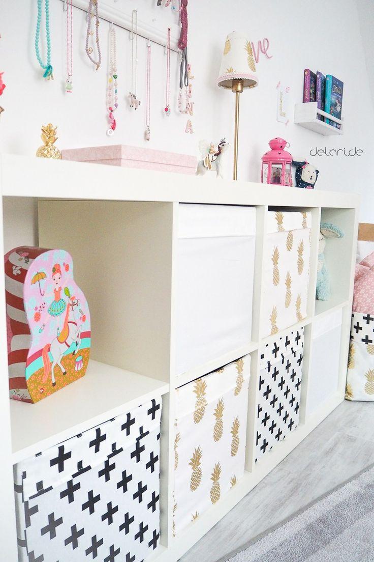 DIY Kisten von Ikea neuen Bezug nähen Kinderzimmer ideen