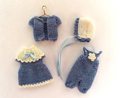 """Miniature toddler baby outfit for 3.5""""-4"""" doll, hand-knitted doll clothing"""
