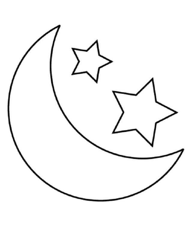 Simple Stars And Moon Coloring Page Moon Coloring Pages Star Coloring Pages Shape Coloring Pages