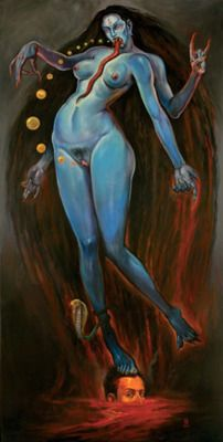 themuseeuterpe:  Demoneater/Kali (the blue vampire) by Christopher Ulrich. To see more of his amazing art click the following link http://christopherulrich.com/