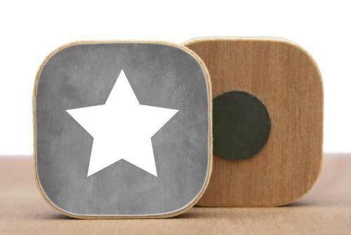 Magnet en bois Etoile - Gris