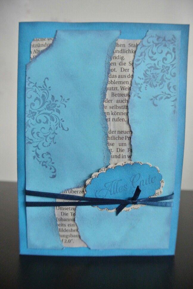 Restekarte blau und Zeitung