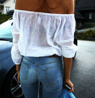 off the shoulder white top and jeans