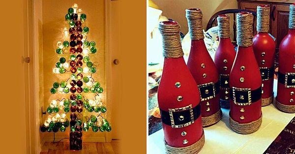 Впечатляющие новогодние и рождественские украшения из бутылок! 26 идей.