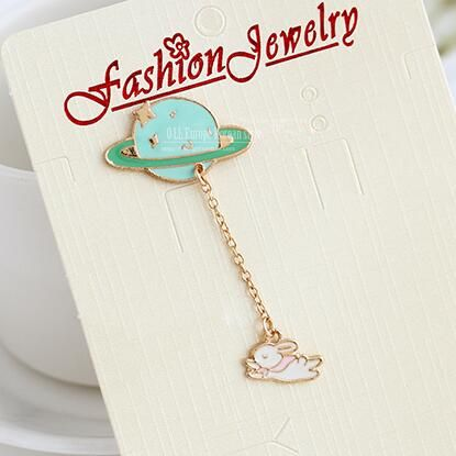 XZP01 Boys and girls fashion cute little rabbit planet bag collar pin brooch hat pin jewelry accessories for men and women