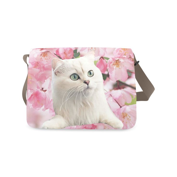 Cat and Flowers Messenger Bag. FREE Shipping. #artsadd #bags #cats