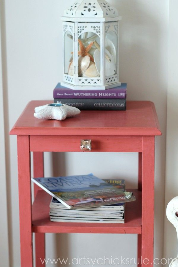 Thrifty Side Table Makeover-Annie Sloan Chalk Paint-Full Front View- artsychicksrule.com #chalkpaint