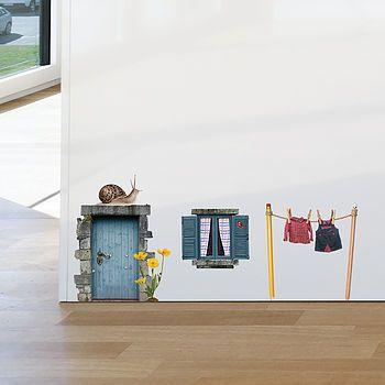 fairy cottage door wall sticker by oakdene designs | notonthehighstreet.com