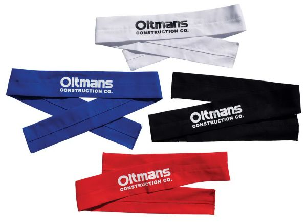 Cool down with this Cool Band! These bands are constructed out of 100% cotton material and feature safe and absorbent polymer cooling crystals inside. Once the polymer is hydrated, the fabric surface of the Cool Band draws in the moisture which then evaporates, resulting in an effective body cooler. This product can be worn around the head or the neck. Ideal during or after a workout. Bands may be customized with a 1 color heat transfer imprint.