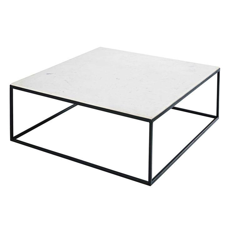 Table basse carrée en marbre blanc et métal noir