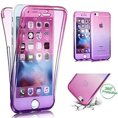 "iPhone 6S Case iPhone 6 CasePHEZEN Scratch Proof 360 Front and Back Full Body Protection Flexible TPU Bumper Case Anti-Scratch Protective Case For iPhone 6/6S 4.7"" Gradient Pink Purple"