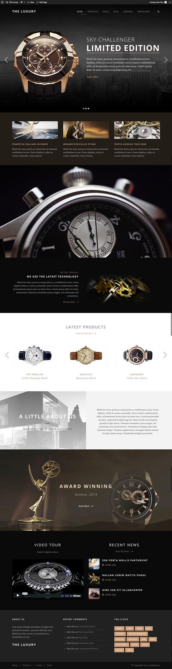 The Luxury - Dark/Light Responsive WordPress Theme on Behance