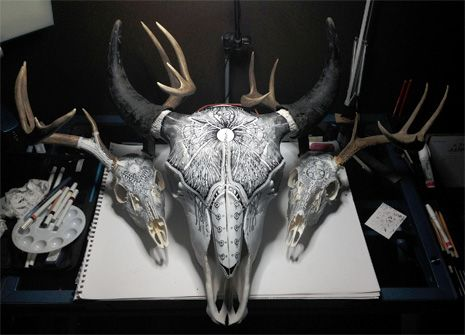 Dangerous Minds | Beautiful artwork drawn with fire on skulls