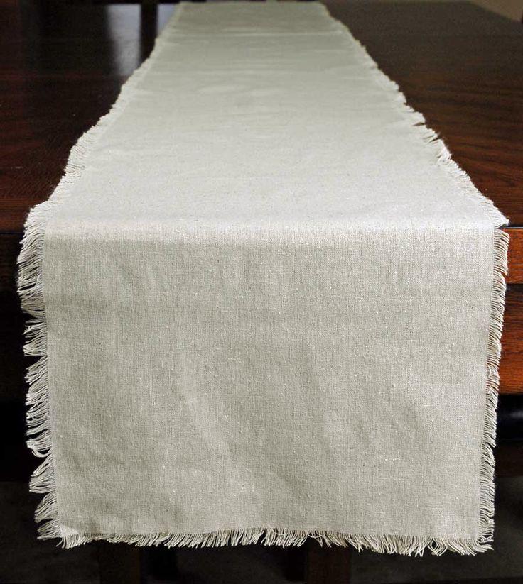 Fringed Edge Linen Table Runner 12.5in x 120in