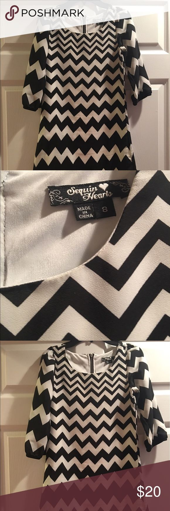 Chevron black and white girls dress size 8 Worn once.  Sequin Hearts girls chevron black and white dress.  Size 8 girls.  Cute dress Sequin Hearts Dresses Casual