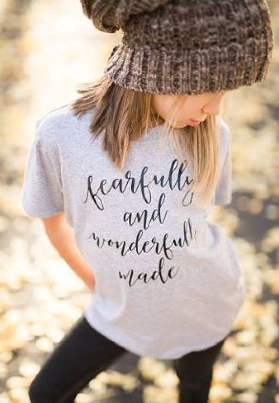 """Girls Toddler Shirt Fearfully and by TheWhiteInviteGifts on Etsy  This """"Fearfully and Wonderfully Made"""" short sleeve toddler tshirt graphic tee is the perfect Christian tee and gift. It is sure to have everyone asking you where you got this great shirt. Infant and toddler size t shirts are available. We use a high-quality unisex kids t-shirt."""