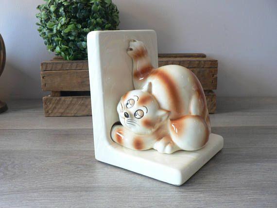 Vintage 80's Ceramic Cat Bookend  Cat Book End  Quon
